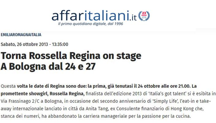 Rossella on stage