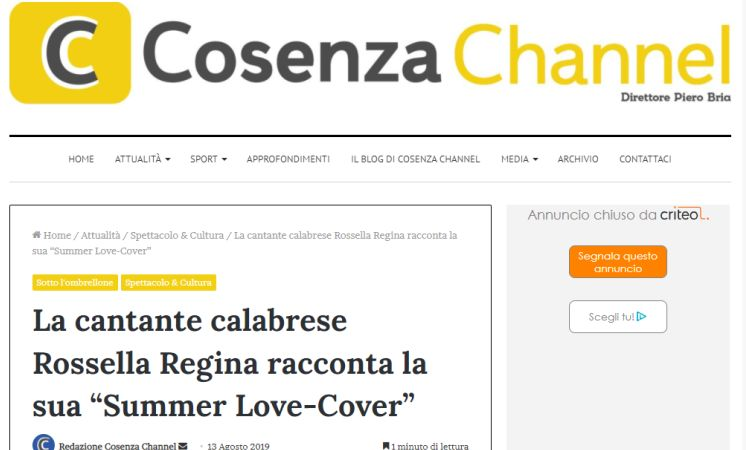 La mia 'Cover Summer'